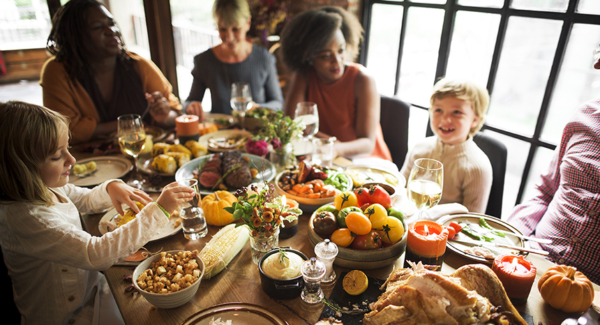 People Celebrating Thanksgiving Holiday Tradition Concept