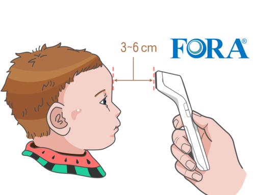 Proper steps of FORA forehead temperature thermometer