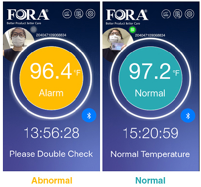 The color coded display differentiates between normal or abnormal temperatures An abnormal temperature will also sound an alarm.