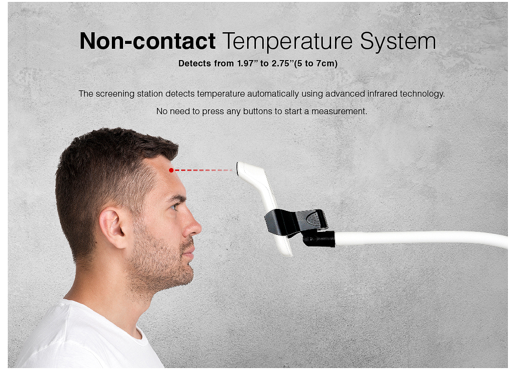 "Non-contact Temperature System Detects from 1.97"" to 2.75""(5 to 7cm)"
